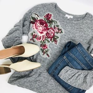Floral Embroidered Gray Ruched Sweatshirt Top